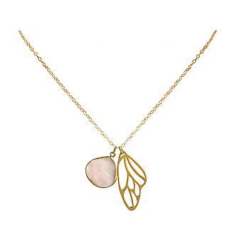 Damen - Halskette - Anhänger - Schmetterling - Flügel - WINGS - 925 Silber - Vergoldet –- DRUZY - Rose Quarz - 80 cm