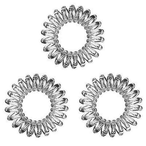 3x Invisible Hair Rings Spiral Plastic Coils Wires - Clear Colour - Traceless Hair Rings for All Hair Type