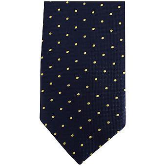 Knightsbridge Neckwear Kensington flekker silke slips - Navy/gul