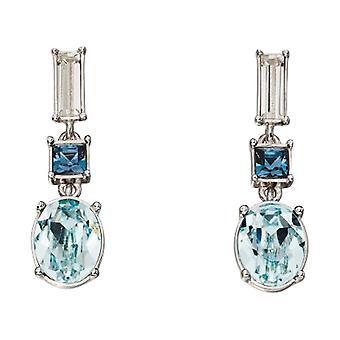Elementen zilveren Swarovski Drop Oorbellen - zilver/licht blauw