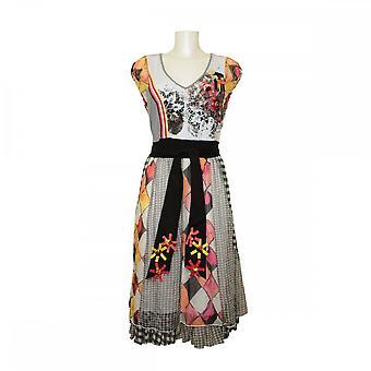 Leslie Squares Silk Sash Tie Detail Dress