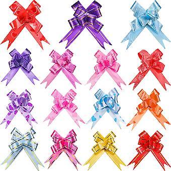 Festival elegante 100pcs assortiti colori PVC Pull archi/natale regalo Knot fiocco stringhe per confezioni regalo o Dec floreale