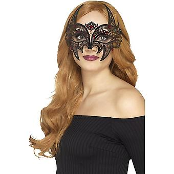 Metal Filigree Devil Eyemask, Black