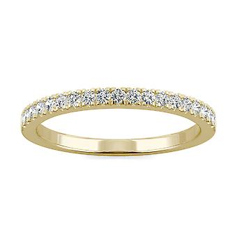 14K Yellow Gold Moissanite by Charles & Colvard 1.5mm Round Wedding Band, 0.29cttw DEW