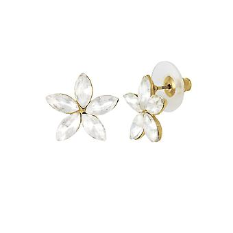 Eeuwige collectie Grandiflora Crystal Floral Gold Tone Stud doorstoken oorbellen