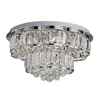 Hayley 6 licht plafond Flush, Chrome, Clearl kristallen ballen Drops