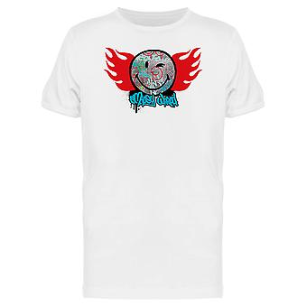 SmileyWorld Graffiti Winking Face WIth Flames Men's T-shirt