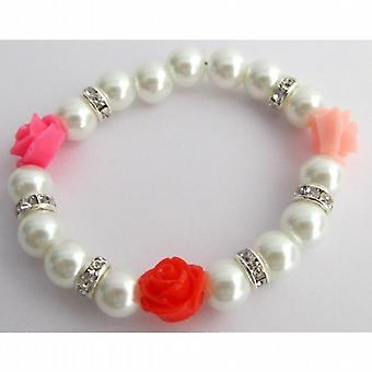Flower Bracelet Multi Color Flowers Rhinestones White Pearl