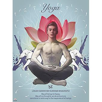 Yoga Poster May All Beings Be Happy Wall Decor Art Print (18x24)