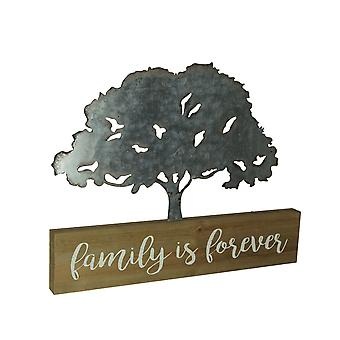 Wood and Metal Art Family is Forever Tree Table Sculpture