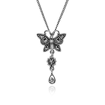 Art Nouveau Style Round Marcasite Butterfly Pendant Necklace in 925 Sterling Silver 214N465301925