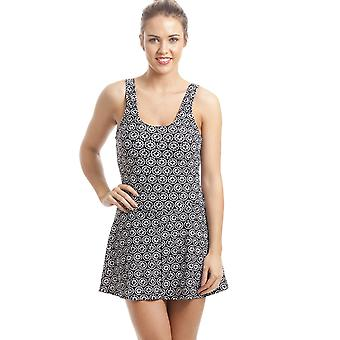 Camille Black Skirted Swimsuit With White Geometric Design