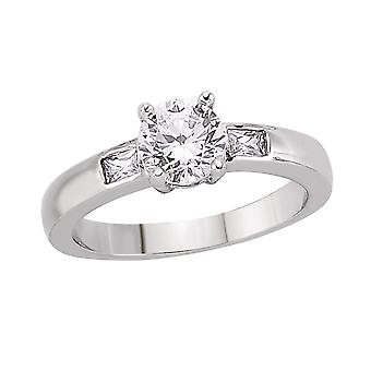 Jewelco London Rhodium Plated Silver Round and Rectangular Cubic Zirconia Shoulder-Set 4 Claw Solitaire Engagement Ring