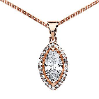 Jewelco London Rose Gold-Plated Sterling Silver Marquise Cubic Zirconia Halo Charm Necklace 18 inch