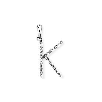 Jewelco London 18ct White Gold Pave Diamond Initial Charm Pendant Letter K 9mm x 20mm