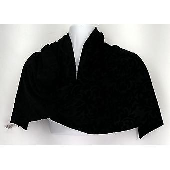 Susan Graver Scarf Polyester Embossed Velvet With Sheer Black