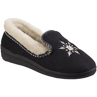 Mirak Womens Snowflake Lightweight Embroidered Slippers