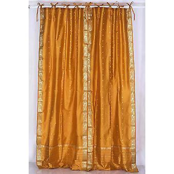 Senape cravatta superiore Sari pura tenda / drappo / pannello - coppia
