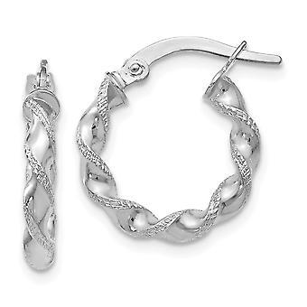 10k ouro branco texturizado polido brincos de argola articulada torcida brindes de joias para mulheres - 0,8 Gramas