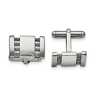 Stainless Steel Brushed Polished Engravable Cuff Links Jewelry Gifts for Men