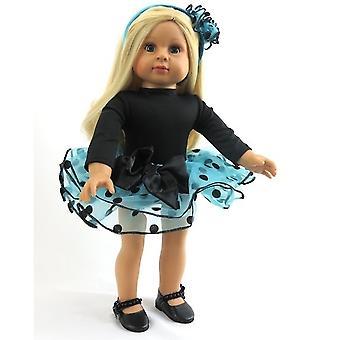 """18 """"docka kläder blå och svart prickiga Tutu Set"""