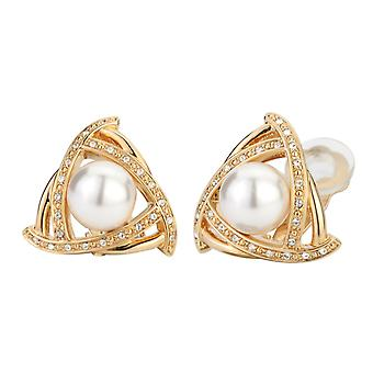 Traveller clip earring - 10mm white pearl - 22ct gold plated - 114174