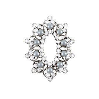 Ewige Sammlung Motiv klar Kristall und Faux Perle Silber Ton Brosche