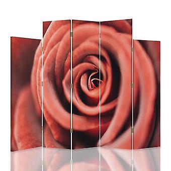 Dekorative Raumteiler, 5 Paneele, doppelseitig, 360 ° Drehbare Leinwand, Blumenrose