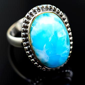 Larimar 925 Sterling Silver Ring Size 9.25  - Handmade Boho Vintage Jewelry RING974878