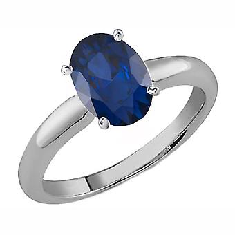 Dazzlingrock Collection 18K 8X6 MM Oval Cut Blue Sapphire Ladies Solitaire Bridal Engagement Ring, White Gold