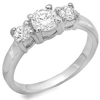Dazzlingrock Collection 1.50 CT Platinum Plated Ladies Round Cubic Zirconia CZ Wedding Bridal Engagement Ring
