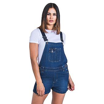 Imogen womens dungaree shorts - palewash