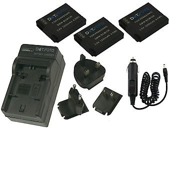 Dot.Foto Panasonic DMW-BCM13 - 3, 6V / 1250mAh batteria (3-Pack) e batteria caricabatteria