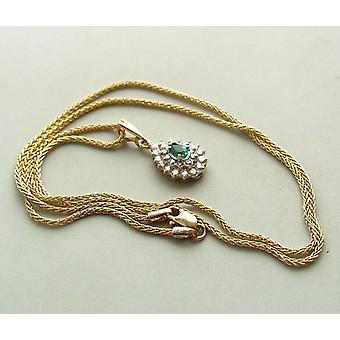 Gold necklace and pendant with emerald and diamond