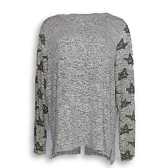 Anybody Women's Top Brushed Hacci Printed Gray A302303