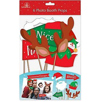 Christmas Shop unisex Xmas Foto props (pakke med 6)