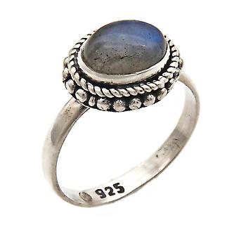 Labradorite Ring 925 Silver Sterling Silver Silver Women's Ring Green Blue (IRM 135-05)
