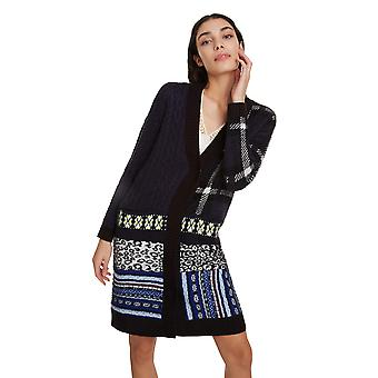 Desigual Cleveland Long Cardigan avec Patterns et Leopard Trim