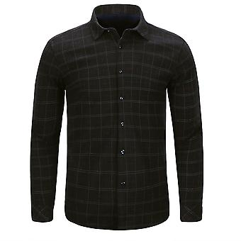 Allthemen Men's Winter Casual Thick Square-Neck Thin-line Plaid Shirt Top