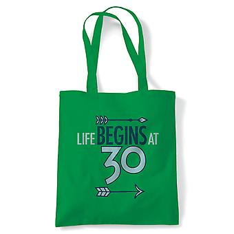 Life Begins At 30 Tote | Happy Birthday Celebration Party Getting Older | Reusable Shopping Cotton Canvas Long Handled Natural Shopper Eco-Friendly Fashion