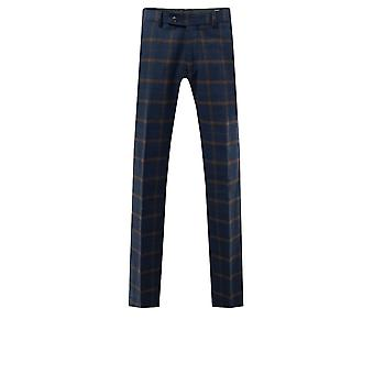 Dobell mens Navy tweed broek regular fit roest controle