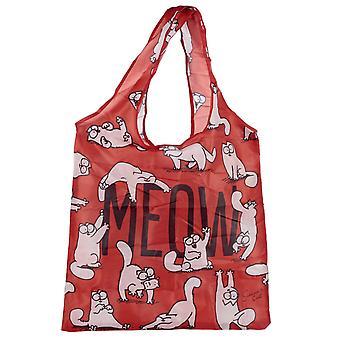 Simon's Cat Einkaufstasche faltbar MEOW rot, bedruckt, 100 % Polyester
