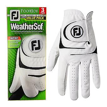 Footjoy Mens WeatherSof Cabretta Leather All Weather 3 Pack LH Golf Glove