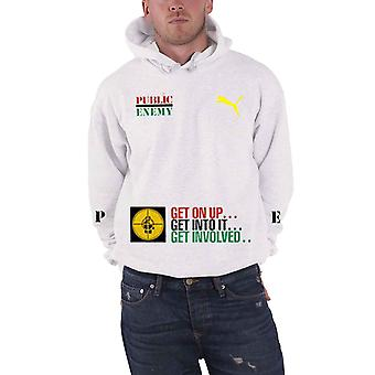 Public Enemy Hoodie Fight The Power Band Logo new Official Mens White Pullover
