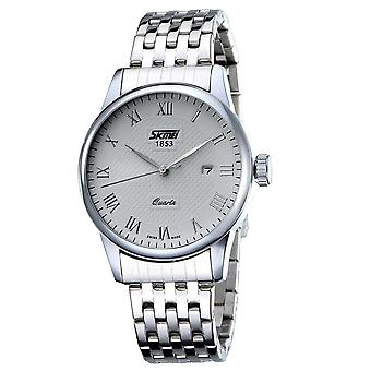 Skmei Mens Watch Stunning Analogue Watches Silver Stainless Steel Date SK9058