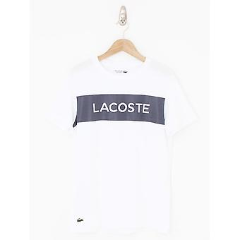 Lacoste Sport Mesh Print Logo T-Shirt - White