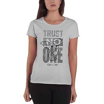 Gremlins T Shirt mogwai Trust No One new Official Womens Skinny Fit Grey