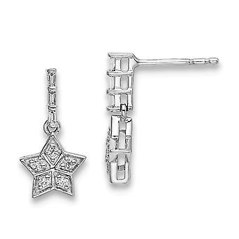 14k White Gold Diamond Star Long Drop Dangle Earrings Jewelry Gifts for Women - 1.3 Grams .16 dwt