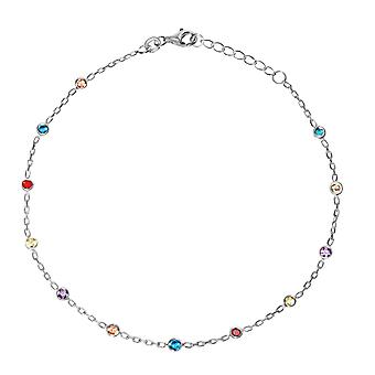 925 Sterling Silver 3mm Multi color Cubic Zirconia Station Adjustable Anklet 10 Inch Jewelry Gifts for Women