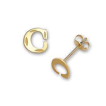 14k sárga arany levél neve személyre szabott monogram kezdeti C bélyegzés a fiúk vagy lányok fülbevaló intézkedések 6x6mm